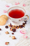 Cup of red tea on serving table Royalty Free Stock Images
