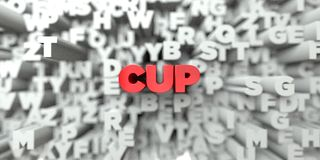 CUP -  Red text on typography background - 3D rendered royalty free stock image Royalty Free Stock Image