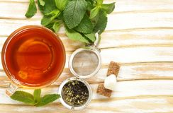 Cup refreshing tea drink. For healthy food Stock Photography