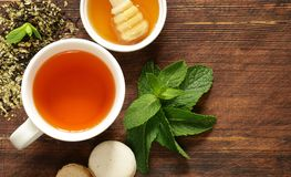 Cup refreshing tea drink. For healthy food Stock Photos