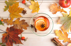Cup of refreshing tea with lemon, Apple, rose hips and cinnamon Stock Photos