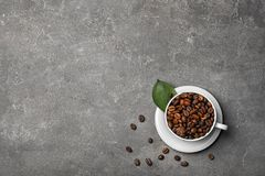Cup with roasted coffee beans. On grey background Royalty Free Stock Photography