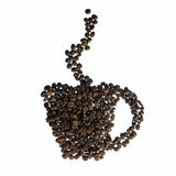 Cup of roasted coffee beans Stock Image