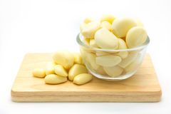 Cup of root garlic on wooden board. White background Stock Image