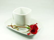 Cup and rose. Red rose on white coffe cup Stock Photos