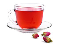 Cup of rose tea and buds Stock Photo
