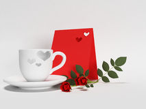 Cup, roses, card on the white background, Royalty Free Stock Photos