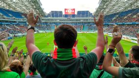 Cup of Russia final. The final of the Cup of Russia on football at stadium Fisht in Olympic park in Sochi, Russia. The sector of fans of Lokomotiv Moscow royalty free stock photo