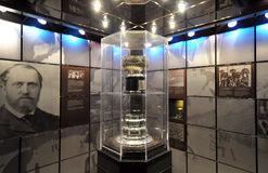 Cup for safety glass. Photo was taken in Hockey Hall of Fame Museum in Toronto City, Ontario province, Canada. November 2013 stock photos