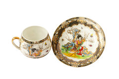 Cup and saucer. Coffee cup and saucer from the Japanese porcelain stock image
