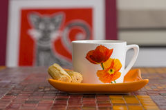 Cup and saucer with biscuits Royalty Free Stock Photography