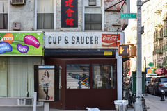 Cup & Saucer - Chinatown. New York City - March 4, 2017: Cup & Saucer diner in Chinatown, Manhattan, New York royalty free stock photo