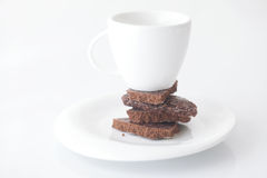 Cup with saucer and chocolate Stock Photography