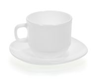Cup with a saucer close up Stock Images