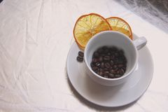 Cup and saucer, coffee beans, slices of dried orange on a gray table top stock photo