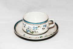 Cup and saucer for coffee. Elegant vintage cup with saucer for coffee or tea Royalty Free Stock Photo