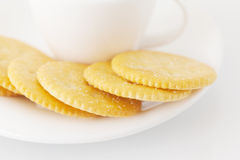 Cup with saucer and crackers Royalty Free Stock Photography