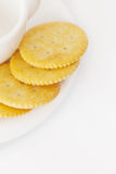 Cup with saucer and crackers Royalty Free Stock Photo