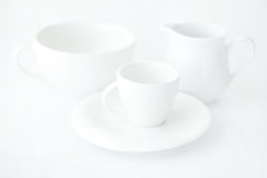 Cup with saucer and milk jug Royalty Free Stock Images