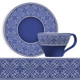 Cup and saucer with Oriental pattern. Stock Images