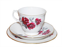 Cup saucer and Plate with Roses Stock Photography
