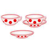 Cup with saucer with red dots vector Stock Photo