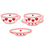 Cup with saucer with red hearts vector Royalty Free Stock Photos