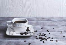 Cup and saucer set with coffee Stock Images