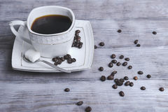 Cup and saucer set with coffee Stock Photo