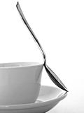 Cup,Saucer and Spoon. Black and white photo of a coffee cup , saucer and spoon Stock Photography