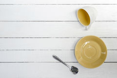 Cup, saucer and spoon Stock Photography