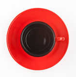 Cup on saucer view from above, isolated on white background. Red cup on saucer view from above, isolated on white background Stock Photography