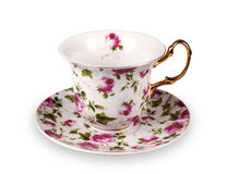 Cup and saucer on white background Royalty Free Stock Photography