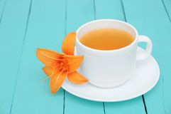 Cup and saucer on wooden background. stock images