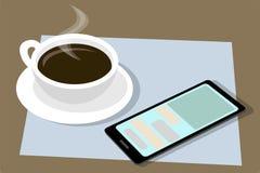 Cup schwarzer Kaffee Entdeckung jemand mit dem Smartphone Vektor Stockfotos