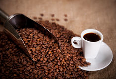 Cup and scoop in coffee beans Royalty Free Stock Images