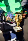 Cup for second place in balance bike competition Royalty Free Stock Image