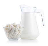 Cup serving of Cottage Cheese and Jug milk Stock Photography