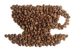 Cup shape coffee beans. Royalty Free Stock Photography