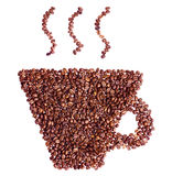 Cup shape coffee beans isolated Royalty Free Stock Photography