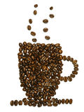 Cup shape with coffee beans. Photo of roasted coffee beans in the shape of a coffee mug Stock Image