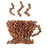 Cup shape of the roasted coffee beans Stock Photos