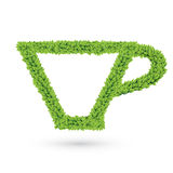 Cup silhouette of green leaves Stock Photos