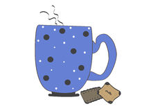 Cup sketch. Blue cup with polka dots and biscuits Royalty Free Stock Photos
