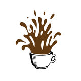 Cup sketch and coffee splashes, vector Royalty Free Stock Photos