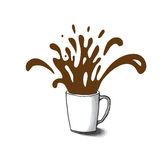 Cup sketch and coffee splashes, vector Stock Images
