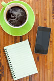 Cup smartphone and book Royalty Free Stock Photo