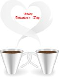 Cup with a smoky. Two cups with twisted handles and a smoke in the form of heart Stock Photos