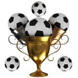 Cup and soccer ball. Golden trophy cup and soccer ball Royalty Free Stock Photo