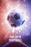 Cup 2018. Soccer ball in fly. Soccer background with fire sparks in action on the black. World Championship background soccer. Cup 2018. Soccer ball in fly Royalty Free Stock Photography